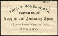 Lot 980 [1 of 2]:1897 (8 Nov) 1d PTPO envelope HG #KB3 for Wall & Molesworth sent from The Exchange to Church Hill with printed notation on front 'BUSINESS MATTER ONLY' and gorgeous artwork on reverse. Flap tear.