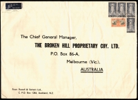 "Lot 1632:1946c. Large Commercial Airmail Cover (35½x25½mm) to BHP, Melbourne, Australia with 1946 Peace 4d & 1/- (4) tied by 2 indistinct 'AUCKLAND' cds strikes with mss ""LATE FEE"" at left."