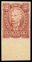 Lot 2268:1895 2c Imperf Plate Proof for SG #28, in issued colour of brown-red, from base of sheet, no gum