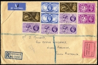 Lot 1162 [1 of 2]:1949 (Nov 15) Registered airmail cover with 2 sets of UPU from Cambridge to South Australia with pink Customs label boxed 'POSTAL CUSTOMS/SOUTH AUSTRALIA/Passed,'.