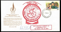 Lot 128 [3 of 3]:Scouts: 1979 (Feb) 2nd Scout Antarctic Expedition to South Pole covers (4, Human Rights PSE's) with various cachets, etc, one cover signed, another with Expedition green label and 'FLIGHT/21-2-1979/ABORTED' handstamp in blue and on reverse similar handstamp in red (flight cancelled due to storms, etc). Interesting lot. (4)