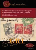 Lot 222 [1 of 2]:New Guinea 'G.R.I.' Opts: 'The Ello Collection of the Australian Occupation of New Guinea incl the G.R.I. Opts' Prestige, Belgrave in 2009 (14 Mar), 77pp, paperback; 'The Garrison Collection of New Guinea G.R.I. Surcharges' Spink London 2014 (18 Jun), 42pp, paperback, p/r. (2)