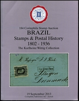 Lot 161 [2 of 4]:South America: 'Dr. H. Goeggel Collections (Part 2) Brazil, Columbia', 2013 (18-19 Sep); 'Indarte Brazil Bull's Eyes 1843-54' 2013 (13 June); 'The Wittig Collection Brazil Stamps & Postal History 1802-1936' 2013 (19 Sep); 'Indarte Collection Brazil Dom Pedro 1866-79' 2013 (19 Sep); 'Klaus Eitner Collection Classic Peru' 2009 (11 Jun). All Corinphila, Zurich, most hardbound & all with p/r. HEAVY LOT. (3.2kg) (5)
