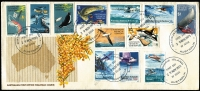 Lot 398:1973 (29 Nov) Pictorials set on unaddressed A.Post 'Wattle' long FD cover cancelled at Macquarie Island. Very scarce usage.