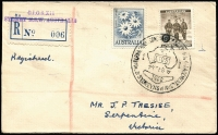 Lot 1007:1960 Congress of Scientific Management, Sydney registered use of Congress of Scientific Management special cancel, provisional registration label '006', (APM1410-APM states only 33 registered covers serviced).
