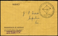 Lot 1002 [2 of 2]:1965 Crystalographic Meeting cover with provisional registration label No. 021 with 2/5d Banksia to Serpentine, Vic, plus stampless PMG envelope with special pmk together with registration receipt also with the special postmark. [47 covers were registered] (3 items)