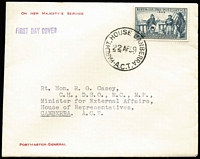 Lot 868 [1 of 2]:PMG's Department 1958 War Memorial pair on 'ON HER MAJESTY'S SERVICE/POSTMASTER - GENERAL' neatly typed envelope tied by BRISBANE/10 FE 58/QLD-AUST' cds, 1959 similar cover with PO Anniv 4d tied by PARLIAMENT HOUSE CANBERRA/22AP59/A.C.T.' cds both addressed to R.G. Casey CH, DSO, MC, MP, who later became Lord Casey of Berwick. (2)