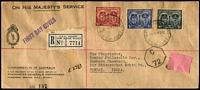 Lot 867 [1 of 2]:PMG's Department 1945 Gloucester set on registered OHMS/PMG Dept long unopened envelope to India, with 'C/72' Bombay Censor octagonal handstamp applied. Minor blemishes.