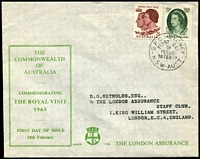 Lot 873 [2 of 5]:The London Assurance matching address selection incl Perth Games with Games pict cds, Royal Visit & Guillaux, also 1962 & 1964 Christmas FDC all neatly addressed to London. (5)