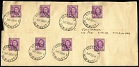 Lot 336 [2 of 2]:1944 (4 Dec) KGVI 2d 14 examples tied to opened out JC Thompson FDC (address missing) and each individually tied by a clear of EDGECLIFF/345P-4DE44' cds. Small tear at base does not detract. Believed to be unique.