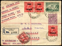 Lot 927 [1 of 4]:1930 (2 Aug) First day of increased postage rates matching registered flight covers comprising international (to Egypt) & local (Melbourne) to Qld. Each cover has at least 8 backstamps. Minor blemishes. (2)