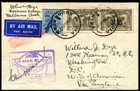 Lot 409:1931 (19 Nov) First All-Australian Air Mail to UK (for USA) crash cover signed by C. Kingsford Smith on an American Consular Service envelope despatched by John W. Dye, newly appointed American Consul in Melbourne, to his son in Washington. Carried by air to England thence by sea to America. The original aircraft crashed in Malaya and although destroyed, the mail survived. Kingsford Smith immediately flew to Malaya and carried the salvaged mail through to England. Franking includes 6d Air optd 'OS'. No postal markings on reverse.