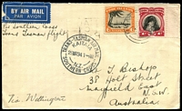 Lot 934 [1 of 2]:1934 (29 Mar) NZ-Aust Flight originating in Cook Islands. Flown by Kingsford Smith in the Southern Cross. Special 'KIATAIA' on front & 'Sydney 29 MCH' arrival backstamp on reverse.