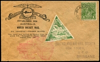 Lot 947:1935 SS Maheno-Fraser Island Rocket Mail illustrated cover with green triangular vignette. (Postmarked 12 Aug). Water stains.