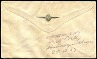 "Lot 821 [2 of 2]:1943 (24 Dec) QANTAS Parachute Mail Sydney-Mornington Island, signed by pilot ""K.G.Caldwell"" and green label (1943) affixed, on reverse 'MORNINGTON ISLAND' handstamp & mss ""J.B. McCarthy/Missionary in Charge/25.12.43'. Blemishes."