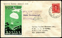 "Lot 821 [1 of 2]:1943 (24 Dec) QANTAS Parachute Mail Sydney-Mornington Island, signed by pilot ""K.G.Caldwell"" and green label (1943) affixed, on reverse 'MORNINGTON ISLAND' handstamp & mss ""J.B. McCarthy/Missionary in Charge/25.12.43'. Blemishes."