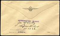"Lot 455 [2 of 2]:1946 (24 Dec) Parachute Mail Sydney-Mornington Island, and orange/brown label (Frommer 62b) affixed, and on reverse 'MORNINGTON ISLAND' handstamp & mss ""J.B. McCarthy/Missionary in Charge/25.12.43"". Blemishes. (Ex Crome Collection)"