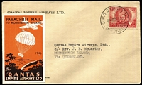"Lot 455 [1 of 2]:1946 (24 Dec) Parachute Mail Sydney-Mornington Island, and orange/brown label (Frommer 62b) affixed, and on reverse 'MORNINGTON ISLAND' handstamp & mss ""J.B. McCarthy/Missionary in Charge/25.12.43"". Blemishes. (Ex Crome Collection)"