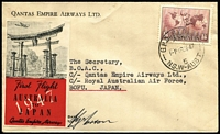 Lot 1029 [1 of 2]:1947 (16 Dec) Australia-Japan flight AAMC #1129, signed by Pilot, QANTAS red & black vignette (Frommer 74d), & on reverse 'A.F.P.O.28./18DE47/R.A.A.F-JAPAN' cds. arrival d/s.