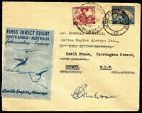 Lot 738:1948 (27 Nov) South Africa-Australia return flight with QANTAS dark & light blue vignette (Frommer 78d), signed by Pilot, no markings on reverse.