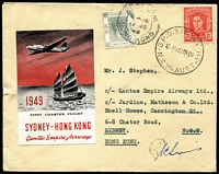 Lot 715 [1 of 2]:1949 (15 Mar) Sydney to Hong Kong signed by Pilot with QANTAS red & black vignette (Frommer 81d), & on reverse Hong Kong arrival cds.