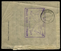 Lot 891 [2 of 2]:1952 QANTAS Australia-South Africa formular aerogramme from Mauritius to Johannesburg with Jo'burg arrival cds (4 Sep) & Australia-South Africa cachet on reverse. Unrecorded intermediate usage.