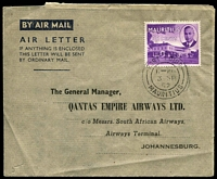Lot 891 [1 of 2]:1952 QANTAS Australia-South Africa formular aerogramme from Mauritius to Johannesburg with Jo'burg arrival cds (4 Sep) & Australia-South Africa cachet on reverse. Unrecorded intermediate usage.
