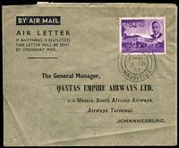 Lot 419 [1 of 2]:1952 QANTAS Australia-Sth. Africa formular aerogramme from Mauritius to Johannesburg with Jo'burg arrival cds (4 Sep) & Australia-South Africa cachet on reverse. Unrecorded intermediate usage.