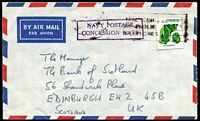 Lot 644:1976 6c Gemstone on commercial airmail cover (opened out) from Navy Office, ACT to UK with fine strike of boxed 'NAVY POSTAGE/CONCESSION RATE'. Sender was R.N. Commander.