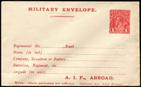 Lot 299:1916-17 1d Red KGV Sideface 'A.I.F., ABROAD' At the Base at the base, 1st setting on off-white/cream paper, flap sealed. BW #ME3, Cat $300.