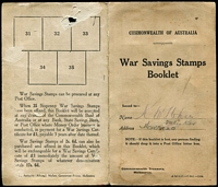 Lot 826 [2 of 2]:WWI War Savings Booklet with horizontal strip of 3 & single P11 6d blue affixed, Albert J. Mullett imprint on reverse. Few blemishes.
