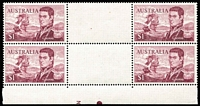 Lot 727:1966-74 $1 Flinders Perf 14¾x14 gutter block of 4 with partial Plate No. 3 in bottom centre, BW #464za, Cat $400. Light fold in gutter.