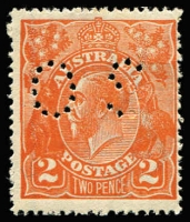Lot 240:2d Orange perf 'OS', BW #95a, Cat $750, off centre as usual.