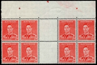 Lot 722:1938-41 2d Red KGVI Die II unfolded gutter block of 8 from top of sheet with Plate No. '4' & plate pips, mounted in margin only. Cat £2,750 as a mounted block.