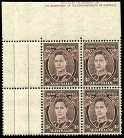 Lot 790:1941-51 3d Brown KGVI block of 4 with gutter at left, top selvedge miscut and showing almost complete 'By Authority...' imprint at top. Hinge in margin only.