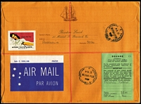 "Lot 968 [2 of 2]:1972 (May 30) airmail cover to Israel with attractive philatelic franking and handstamped 'Inspected/and Safe for/Transmission' with 'POSTMASTER/CHRISTMAS ISLAND/INDIAN OCEAN' handstamp beneath (and signed), green customs label & Jerusalem arrival backstamp. Accompanied by a photocopy of a PMG's Department notice stating ""Following explosions in aircraft carrying mail to Israel security aspects of acceptance of air mail to that country are being strengthened...."". Rare anti-terrorism mail. (2 items)"