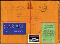 "Lot 1027 [2 of 2]:1970 (Nov 10) registered airmail cover to Israel with attractive philatelic franking and handstamped 'Inspected/and Safe for/Transmission' with 'POSTMASTER/ COCOS (KEELING) ISLANDS AUST.' handstamp beneath (and signed), green customs label, Sydney & Jerusalem arrival backstamps. Accompanied by a photocopy of a PMG's Department notice stating ""Following explosions in aircraft carrying mail to Israel security aspects of acceptance of air mail to that country are being strengthened...."". Rare anti-terrorism mail. (2 items)"