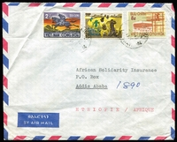 Lot 4 [1 of 4]:Ethiopia 1970s Range of commercial covers to Ethiopia (12) from Lebanon; Malawi; Neth. Antilles; Norway; S. Africa; Spain; Sri Lanka; Terr. Frs. Afars-Issas; USA, Vietnam; plus selection of internal covers (4) to Addis Ababa or outwards covers (4) to Kenya. Mixed condition. (20)