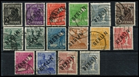 Lot 395 [2 of 2]:1948 Berlin Opts in black to 84pf (16), Mi #1-16, Cat €360+. Offered 'as is'.