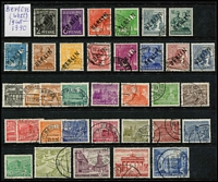 Lot 441 [1 of 2]:Berlin (West) 1948-70 Collection on 25 Hagners incl various 1948 Opts in black to 80pf, 1949-54 Buildings (21), 1950 ERP, Lortzing, 1951 Stamp Day (2), 1952 Beethoven, Olympics (3), 1953 Uprising 30pf, 1954 Stamp Exhib, 1956-63 Buildings (18), 1961-63 Famous Germans (15), 1964-69 Architecture (24), 1970-73 Pres Heinemen (23), etc, many later commems in sets. Cat £1,000++. (100s & M/Ss).