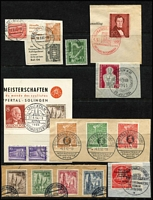 Lot 442 [2 of 2]:Berlin (West) 1949-54 Collection incl 1949 Buildings 1pf & 4pf with labels on piece with 20pf, 1950 Orchestra (2), 1951 Lortzing on piece with red Karlsruhe commem cds, 1952 Olympics (3, tied to piece by strikes of Frankfurt Fair cds), 1953 Church Reconstruction Fund (4, tied to piece by Frankfurt cds), etc. Cat approx €500+.Generally fine. (13 items).