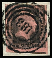 Lot 1348:1850 1sgr Black & Carmine with 3 large margins showing portions of 2 adjoining units tied to piece by 4 ring numeral cancel (No. 183). Maria Brettl guarantee marks on reverse & Certificate (2000). Mi #2c, Cat €600.