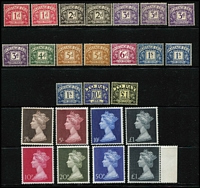 Lot 373 [2 of 4]:1939-80s Definitive Issues incl 1939-48 High values 10/- dark blue, selection of De La Rue & Waterlow Castles, 1988 Castles, 3 sets plus additional £5 (2), 1992-95 £3 (2), £5 (5), 1993 Britannia £10 (5), all used, plus Mint/MUH range incl 1969 Machin to £1 (4), 1970-72 Machins to £1 also small collection of Postage Dues (MLH/MUH) to £1. Generally fine. (130+)