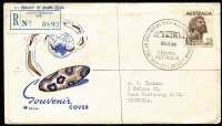 Lot 309 [2 of 7]:1931-86 Postmark Selection incl Alice Springs 1957 airmail cover with 7½d Flying Doctor pair to Vic, 1981 'Camel Cup' cover, Ayers Rock 1964-78 range commem cancels, some on Wesley or Royal covers incl 2/6d Aborigine on registered Royal souvenir cover wth pictorial cancel, Darwin 1931-86 incl 1971 Commencement of Overland Telegraph (15th & 16th Sep - 2 covers, both with pictorial cancels in purple), etc. Generally fine. (17)