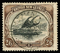 Lot 1225:1907 Papua Lakatoi Wmk Vertical 2/6d black & brown, Thin paper. 'Papua' opt carefully excised and forged indistinct '(LAGOS)/15 NO/1901/W.AFRICA' cds added.