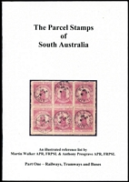 Lot 114 [1 of 2]:Australia - States: South Australia incl The Parcel Stamps of S. Aust Part 1, Rail, Tramways & Buses by M. Walker & T. Presgrave, 2008 52pp. Revenue Stamps of South Australia by M.Walker, 2006, 52pp. Victoria The 5/-, 1867-1901 and the 1/-, 5/-, £1, £2 1901-1912 by J. R. W. Purves, published by Hawthorn Press, Melbourne 1979 76pp. Postage Stamps & Postal History of Western Australia, Vol II, The Melbourne Printings 1902-1912 by M.Juhl, 1983, 88pp. The Local Posts of Western Australia by P. Collas, published by Hawthorn Press, Melbourne. 1960. 15pp. (8 items)