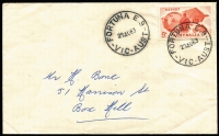 Lot 341 [1 of 5]:1948-60 Collection incl 1950 'T.O. MINCHA/VIC' on tatty cover to Vic with interesting letter about life on the farm, 'SURREY HILLS NORTH/30SP60/VIC.' cds on Anteater plain FDC, 1961 2 strikes of oval 'POSTMASTER/11MAY1961/NORTH [MELBO]U[RN]