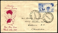 Lot 748:1957 (Mar 27) 2/- Map on Easther illustrated FDC to Canada. Launceston cancel. SCARCE.