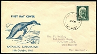 Lot 1353:1961 (Oct 18) 5d Mawson on illustrated Easther FDC to New Zealand with poor Launceston cancel.