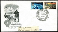 Lot 400 [1 of 2]:1971 Treaty Set on Artmaster FDC (Macquarie Island-1971 Nov 23 FDI) & Art Craft FDC (Davis-1972 Jan 13 FDI) both to USA.